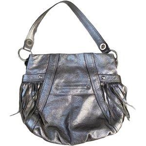 B Makowsky Metallic Fringe Bag